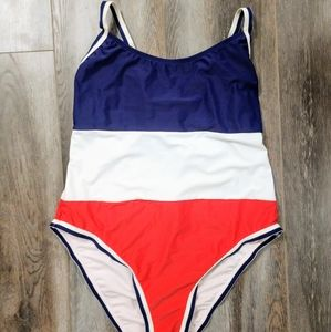 Red White and Blue One Piece Swimsuit Size L